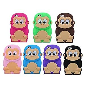 SHOUJIKE 3D Cartoon Monkey Silicone Soft Case iPhone 6 (Assorted Colors) , Black