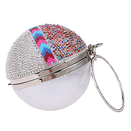 embrayages Rhinestones KYS de poignée Bag Dinner Jour en Sacs color Side Evening Purse One soirée silver Luxurious Diamonds Forme Party Femmes Ronde de OrnO4EgP