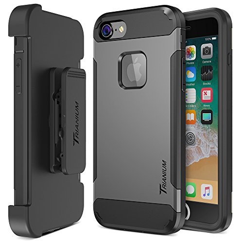Trianium iPhone 8 Case [Duranium Series] with Holster Case Heavy Duty Protective Cover and Built-in Screen Protector for Apple iPhone8 Phone (2017) Belt Clip Kickstand [Full Body Protection]- Gunmetal ()