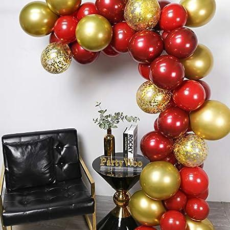 PartyWoo Globos Burdeos Dorados y Rojo Rubí, 50 Unidades Globos Burdeos Globos Dorados Globos Confeti Globos Metalicos para Decoracion Navidad Niños, Decoracion Fiesta Rojo, Decoracion Fiesta Navidad