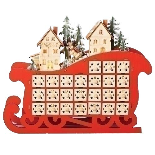"11.5"" Red LED Sleigh and Village Christmas Count Down Advent Calendar from Roman"