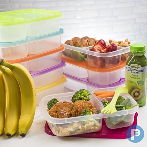 Bento Lunch Box 3 Compartment Food Containers – Set of 10 Storage meal prep Container Boxes– Ideal for Adults, Toddler, Kids, Girls, and Boys – Free 2-in-1 Fork/Spoon & Puzzle Sandwich Cutter by Perfect Fit (Image #1)