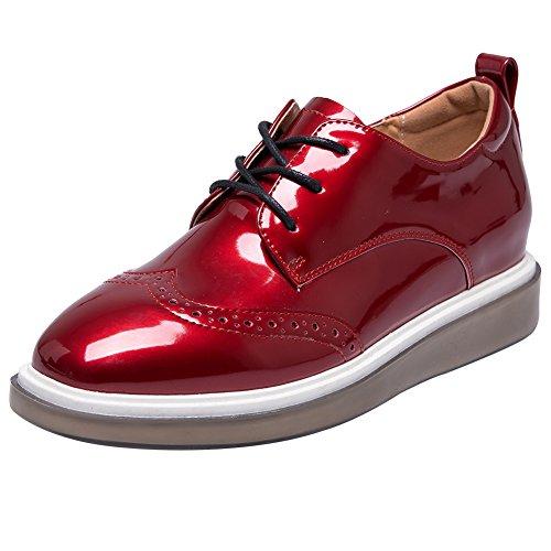 Jamron Mujer Brillante Suave Falso Cuero de Patente Cuña Zapatillas Comodidad Creepers Brogue Encajes Rojo