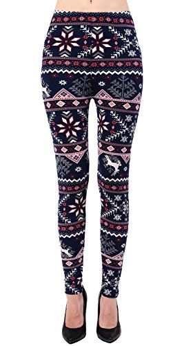 VIV Collection Regular Size Printed Brushed Ultra Soft Christmas Leggings (Christmas Winter Tree)