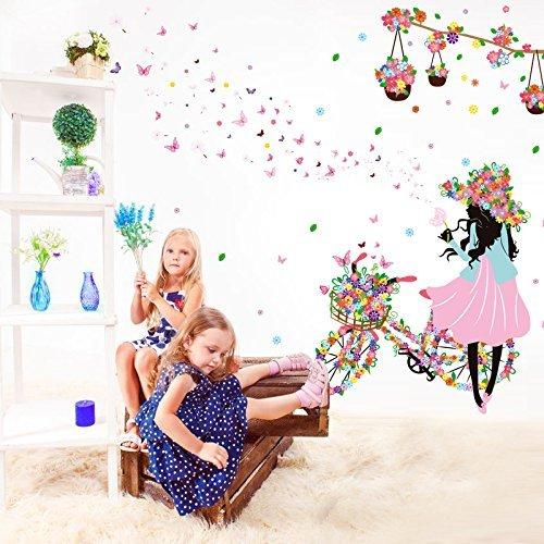 Nature Series SWORNA SN-72 niña para bicicleta flores y mariposas en vinilo adhesivo decorativo decorativas para pared -...