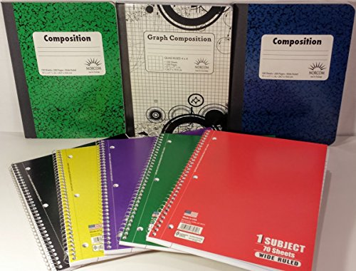 Norcom Back to School Supplies, (5) 1-Subject Notebooks, ...