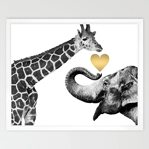 Eleville 8X10 Giraffe and Elephant Love Real Gold Foil Art Print (Unframed) Funny Artwork Funky Prints Home wall art Motivational Poster Holiday Birthday Wedding Christmas Gift WG125 by Eleville