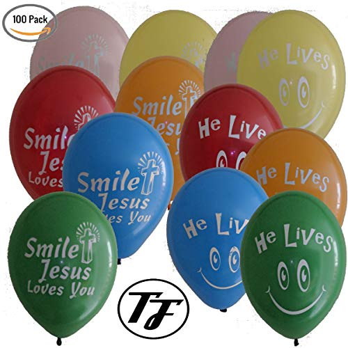 Religious Balloons - Truth Fanatic Jesus Themed Latex Balloons - Unique Double-Sided Imprint - Christian Cross''He Lives'' &''Smile Jesus Loves You'' (100 Balloons) by Truth Fanatic