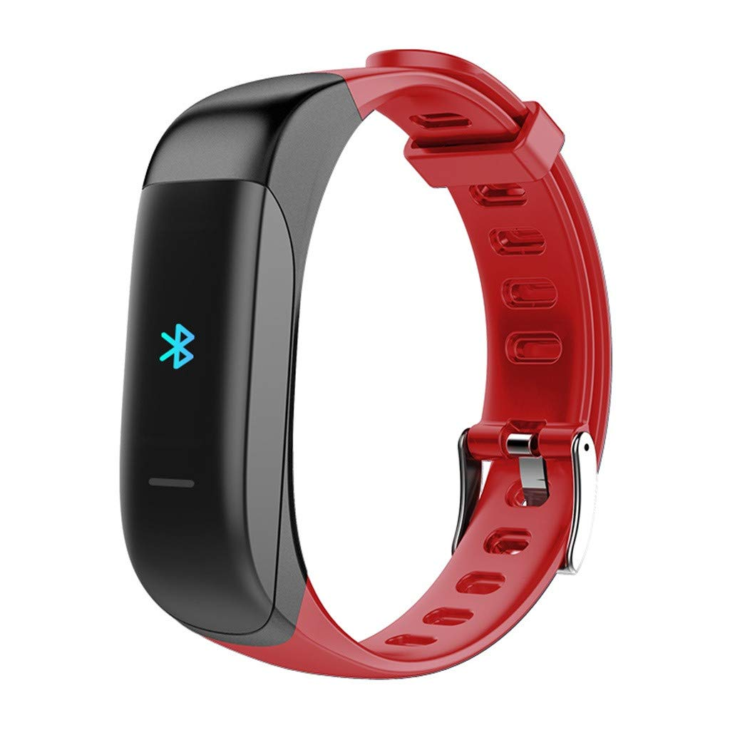 NDGDA Smart Watch Bracelet Heart Rate Blood Pressure Monitor Fitness Tracker Bluetooth (Red)