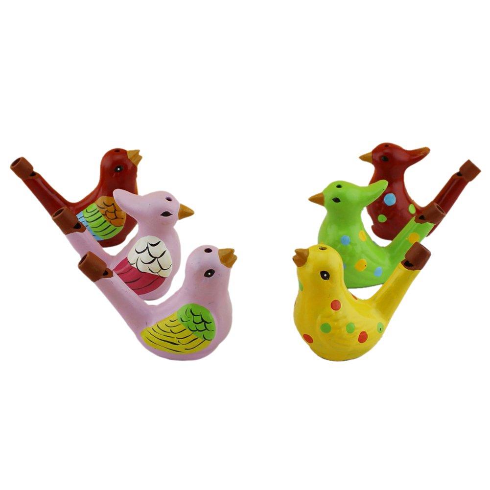 Terra Cotta Bird Water Whistles Warbler Song Ceramic Chirps Baby Bathtime Fantasy Gifts Set of 6 INNO Light Colours Bird Set of 6