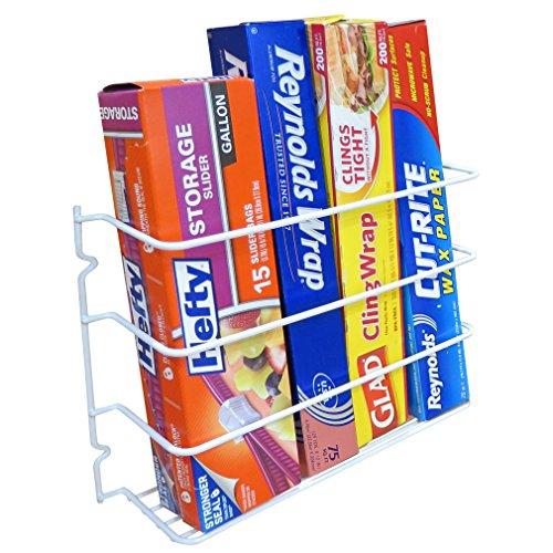 (Evelots Wrap/Foil Organizer Rack-Kitchen Cabinet Door-Wall-Plastic Coated Iron)