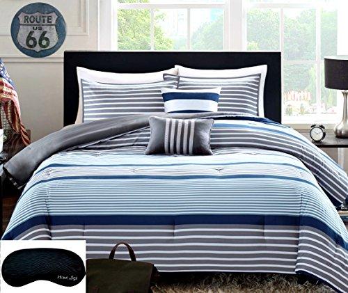 Teen Boys Rugby Stripe Blue Gray White Green Twin / Twin XL Comforter + 1 Sham +2 Decorative Pillows + Home Style Sleep Mask 6 Pc. Bedding Set Navy Boy Kids Comforters Sets (Twin/Twin XL Blue Gray)