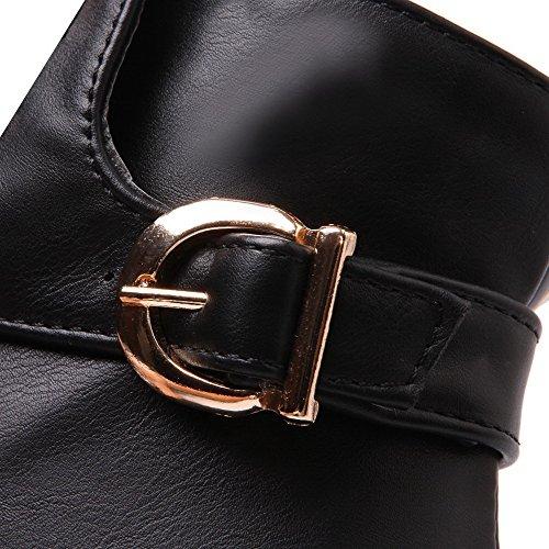 punta cerrada Allhqfashion Cremallera para con Material suave negras Botas bajo suave de mujer Botas de tacón pqfAAT