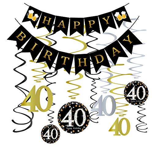 40th Birthday Party Decorations KIT - 40 Years Old Banner,40th Hanging Swirls Gold,40th Years Old Party Supplies Anniversary Decorations -