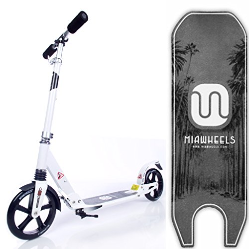 MIAWHEELS White/Black Adjustable & Foldable + SUSPENSION+ STRAP+REFLECTIVE+ Long REAR BRAKE, Aluminium Kick (Mens Scooter)