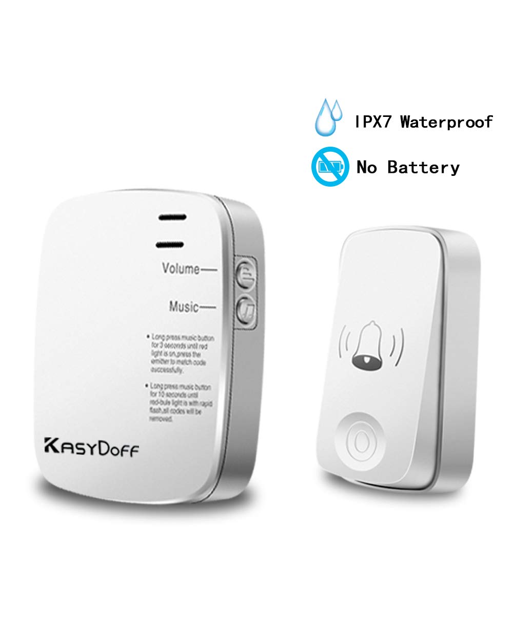 Kasydoff Wireless Doorbell Kits No Battery Required for Transmitter, IPX7 Waterproof Push Button Operating at Over 650-Feet Range with Over 32 Chimes 4-Level Volume (One Transmitter+One Receiver)