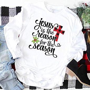 Camisa de Manga Larga Estampada Feliz Navidad Feliz año Nuevo para Mujer Camisa de béisbol Camisas Estampadas Lindas Tops: Amazon.es: Ropa y accesorios