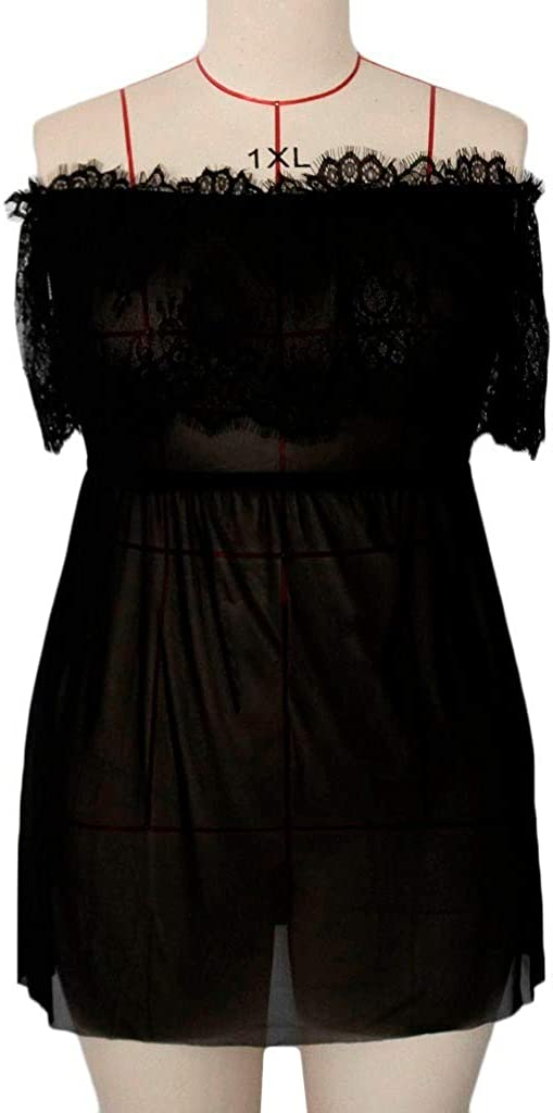 iQKA Women Plus Size Lingerie Lace Sheer Mesh Chemise Off-Shoulder Nightdress Babydoll Set with Thong XL-4XL