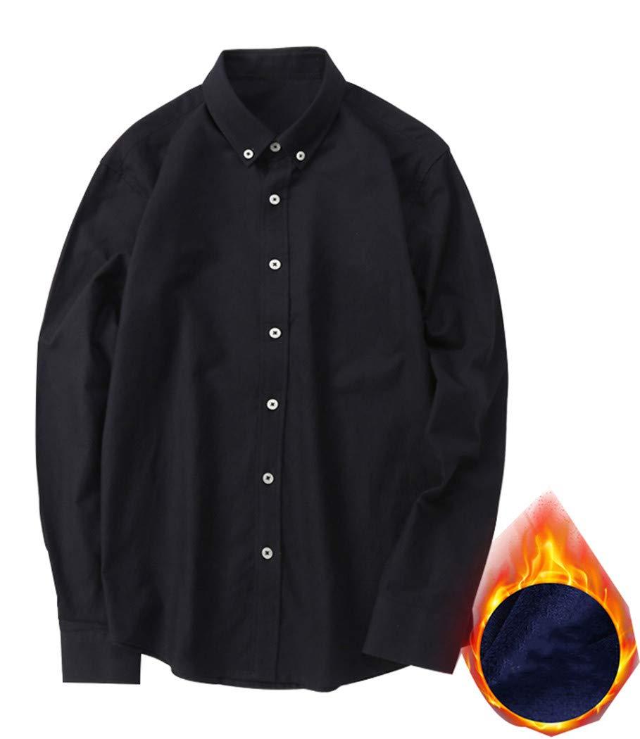 XYZJIA Camicia Camicia a Maniche Lunghe Camicia da Uomo Camicia Oversize, Blu Navy, 3XL