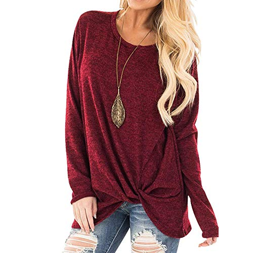 Womens Sexy Off Shoulder Sweater Casual Soft Long Sleeves O Neck Knot Side Twist Blouse Top T-Shirt