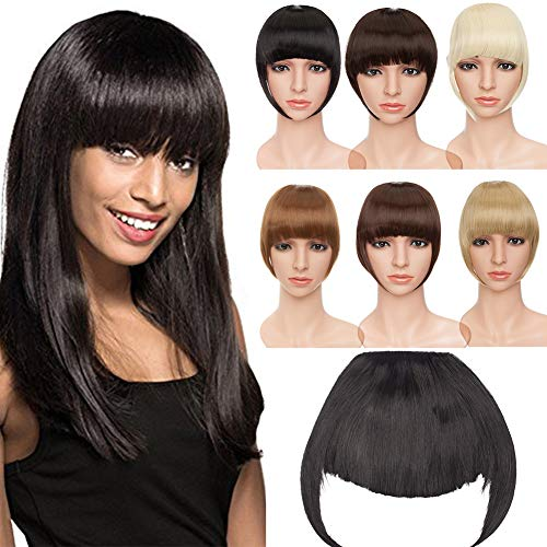 S-noiliteJet Black 7 Inches Straight One Piece Front Bangs Fringe Clip in Hair Extensions Clip Ins Hairpiece for Girls Ladies Women]()