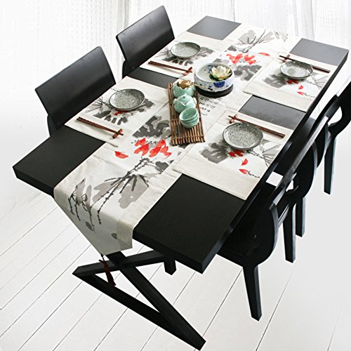 JINGJIE Restaurant dining table Decoration Table runner,Fluid systems household Fabric Ink Table runner Tea table Tv cabinet Table runner-B by JINGJIE