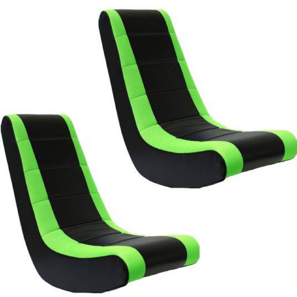 Crew Furniture 51208 Classic Video Rocker Black/Neon Green Mesh Racing Stripe, Set of 2