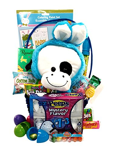 Easter Gift Basket -Deluxe Prefilled with Candy, Toys and Activities, Large Plush in Bunny Costume, Includes M&Ms, Peeps, Starburst, Fun Dip & More! (Blue (Starburst Costume)