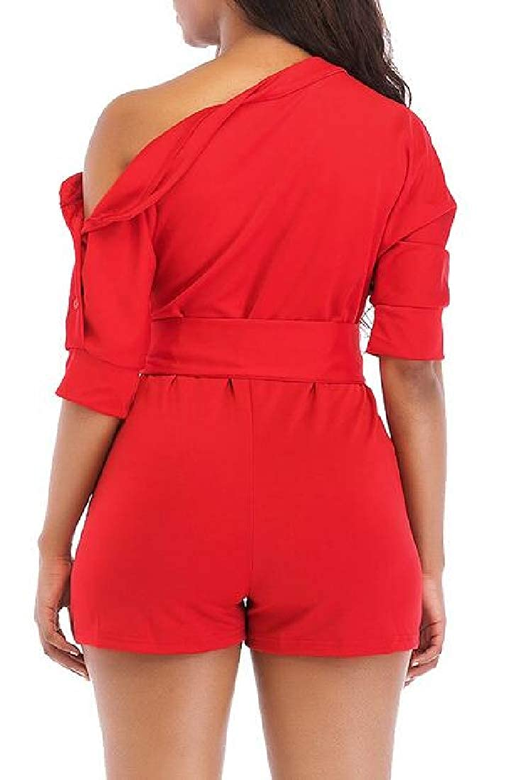 Jmwss QD Women Summer Bow Tie One Shoulder Short Sleeve Jumpsuit Rompers with Pockets