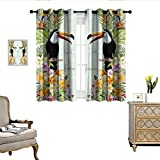 QianHe Bedroom Curtains Save The Date Wedding Card Tropical Flowers Toucan Bird Thermal