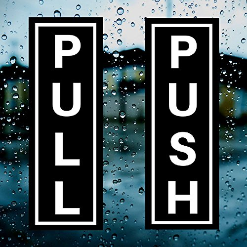 "PUSH (x2) & PULL (x2) Indoor/Outdoor Vertical Door 1.75"" x 5"" Sticker/Decal for Business, Shops, Stores, Cafes & More - Industrial Strength Self Adhesive Back Vinyl Sticker from Novosta"