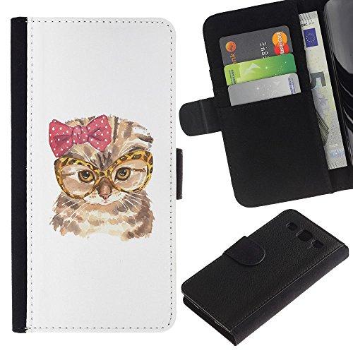 EuroCase - Samsung Galaxy S3 III I9300 - cat funny glasses bow pink owl art - Cuero PU Delgado caso cubierta Shell Armor Funda Case Cover