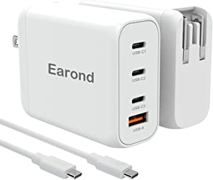USB C Charger,Earond 120W 4-Port Wall Charger with GaN Tech,USB C Laptop Charger MacBook Pro Charger with 100W C to C Cable for MacBook Pro/Air,iPhone 12/11 / X/XS/XR, iPad Pro,Switch,Galaxy