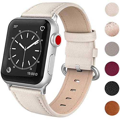 SWEES Leather Band Compatible for Apple Watch 38mm 40mm, Genuine Leather Elegant Replacement Compatible iWatch Series 5 Series 4 Series 3 Series 2 Series 1, Sports & Edition Women, Ivory White