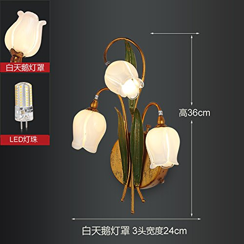 American Retro europäischen kreativen Kopfteil Schlafzimmer Wand Lampe Wandleuchte luxuriösen, modernen minimalistischen Passage Eingang Wohnzimmer Licht,White Swan Lampenschirme