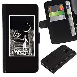Pintura de la noche de la luna Rye Niño- la tarjeta de Crédito Slots PU Funda de cuero Monedero caso cubierta de piel Para Samsung Galaxy S5 Mini (Not S5), SM-G800