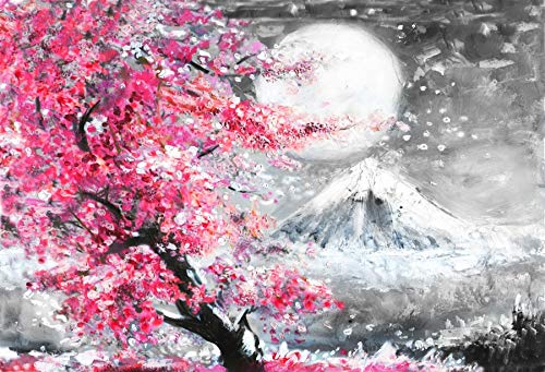 Yeele 5x3ft Winter Photography Background Mount Fuji Pink Cherry Blossoms Full Moon Watercolor Painting Photo Backdrops Pictures Adult Artistic Portrait Photoshoot Props]()