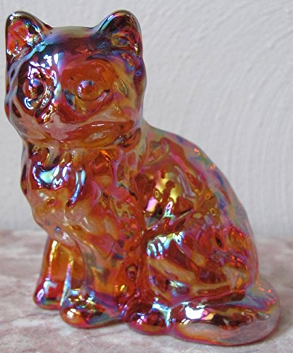Fluffy Solid Glass Sitting Cat - Mosser USA (Marigold Carnival)