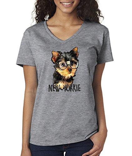 New Way 381 - Women's V-Neck T-Shirt New York Yorkie Puppy Dog Glasses Funny Humor Medium Heather (Yorkie Dog T-shirt)