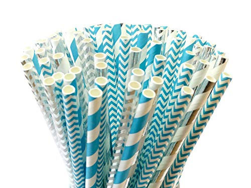PARTYSOME 120 Blue/Silver Biodegradable Paper Straws, For Boy Baby Shower, Frozen Snowflake, Anniversary, 21st/30th/50th/60th Birthday For Men, Sweet 16, Bachelor Party Supplies, Wedding Decorations -