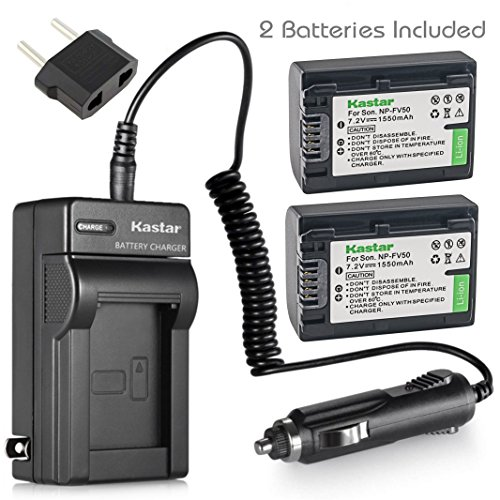 Kastar Battery 2 Pack + Charger for Sony NP-FV30 NP-FV40 NP-FV50 & Sony Handycam HDR-CX380 430V 900 580V 760V HDR-PJ540 650V HDR-PV710V 790V 810 HDR-TD30V FDR-AX100 DCR-SR DCR-SX HDR-CX HDR-XR Series (Sony Dcr Sx45 Battery)
