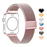 Letuboner Compatible for Apple Watch Band 38mm 42mm 40mm 44mm,Stainless Steel Mesh Magnetic Wristband Loop Replacement Bands for iWatch Series 4/3/2/1 (Rose Gold Pink, 38/40mm)