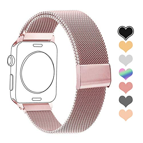 Letuboner Compatible for Apple Watch Band 38mm 42mm 40mm 44mm,Stainless Steel Mesh Magnetic Wristband Loop Replacement Bands for iWatch Series 4/3/2/1 (Rose Gold Pink, 38/40mm)]()