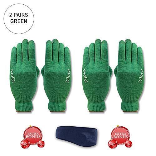 2 Pairs CoolKo Newest Touch Screen Outdoor Gloves Green for Iphones, Smartphones and tablets, Winter Texting Gloves with SPECIAL BONUS Ear Warmer Head ()
