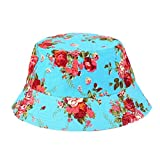 VPASS-Adjustable Bucket Cap Flower Print Slouch Boonie Wide Brim Sun Hats Nepalese Cap Army Mens Packable Fisherman Hat (A)