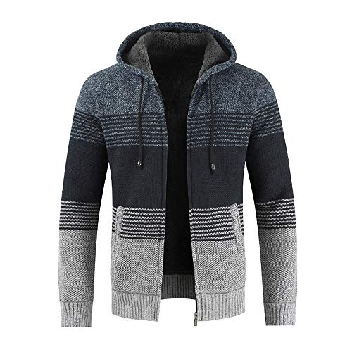 Sunhusing Men's Fashion Striped Color Matching Coat Overoat Winter Drawstring Hooded Jacket -