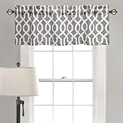 Lush Decor Edward Trellis Room Darkening Window Curtain Valance with 2 inch Header, 18 inch x 52 inch, Gray