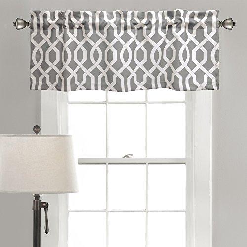 Lush Decor Edward Trellis Room Darkening Window Curtain Valance with 2 inch Header, 18 inch x 52 inch, Gray