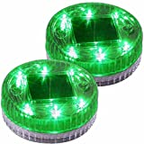 Solar Floating Light For Pool Pond Water Decor Light, Ground Buried Tealight 6LED Green 2PACk