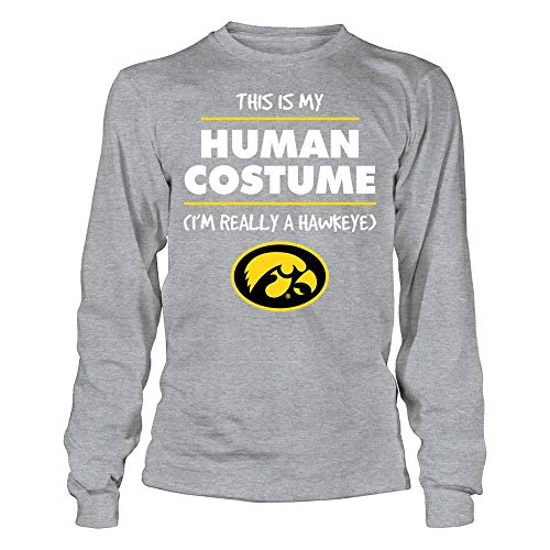 FanPrint Iowa Hawkeyes T-Shirt - Halloween Iowa Hawkeye Costume T-Shirt | Tank - Longsleeve Tee/Grey/S -